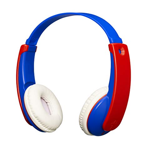 JVC HA-KD9BT TINYPHONES Auriculares Inalámbricos para Niño y Niña. Cascos con Diadema Ajustable, Conexión Bluetooth y Limitador de Sonido. hasta 12 Horas de Batería. Color Azul y Rojo.