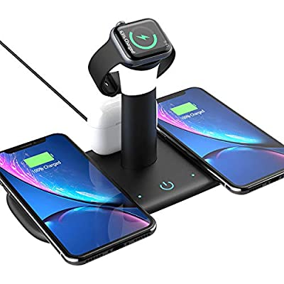 New (2021) Wireless Phone Charger Multiple Devices Stand with lamp 5 in 1 Qi-Certified mag-Safe 15W Fast Charging Station for Apple Compatible for iPhone 12/11/Xs/Xr/8, and Airpods/(Black) by basha
