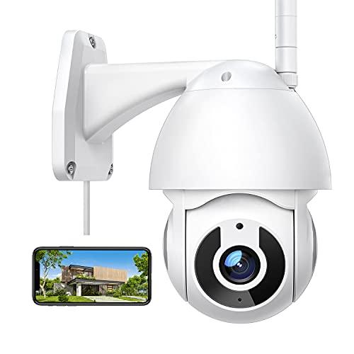 Telecamera Wi-Fi Esterno, 1080P FHD, 360° Videocamera Sorveglianza Interno, Visione Notturna, Audio Bidirezionale, Rilevamento del Movimento, IP66 Impermeabile, Compatibile con Alexa, per iOS/Android