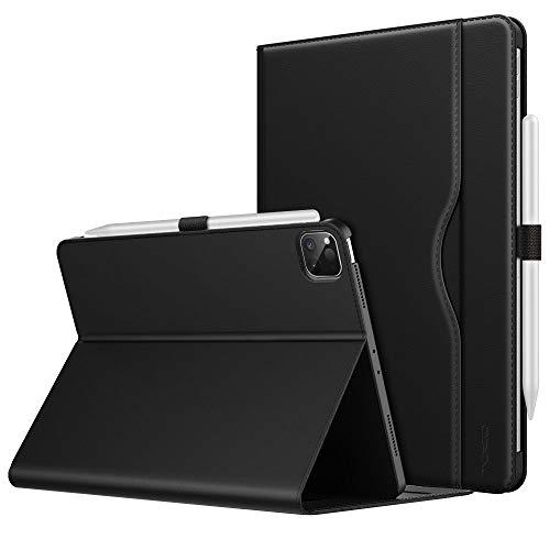 MoKo Hülle Kompatibel mit iPad Pro 12.9 4. Generation 2020/2018, PU Leder Schutzhülle Unterstützt Aufladung Multi-Winkel Ständer Auto Schlaf/Aufwach Handschlaufe für iPad Pro 12.9 2020/2018 - Schwarz
