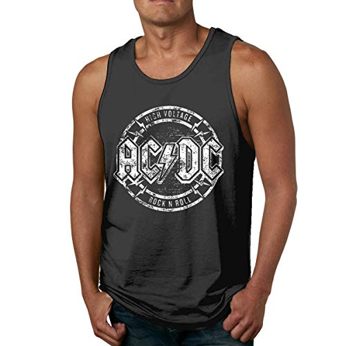 Hengtaichang ACDC Negro en Negro Hombre Camisetas de Tirantes Sin Mangas Summer West Camisas Negro