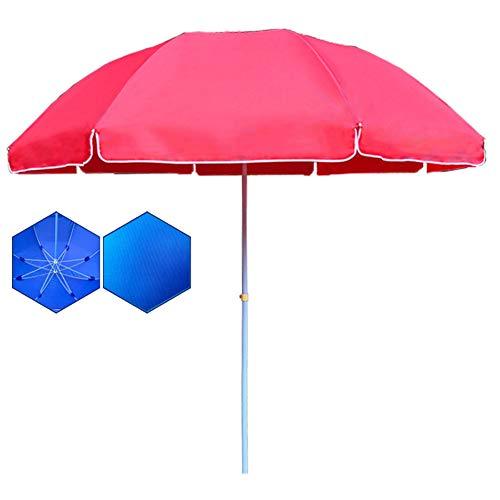 Wsaman Gartenmöbel Regenschirm Sonnenschirm, 8 Rippen Strandschirm Terrassenschirm Faltbare UV Schutz Wasserdicht für Camping/Reise/Balkon Zelt-Überdachung Strandschirm,Rot,1.8m