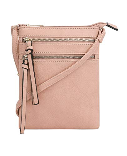 DELUXITY Essential Casual Functional Multi Pocket Double Zipper Crossbody Purse Bag for Women (Blush)
