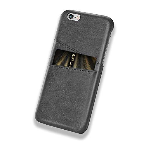 Funda iPhone 6 Plus / 6S Plus, Funda Tarjetero Slim de Piel Sintética Vintage con 2 ranuras para Tarjetas/DNI Cubierta Simple Fácil de Instalar para iPhone 6 / 6S (iPhone 6 Plus / 6S Plus, Negro)
