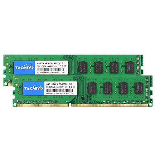 TECMIYO 8GB Kit (2x4GB) DDR3 1066MHz UDIMM PC3-8500 PC3-8500U Non ECC Unbuffered 1.5V CL7 2RX8 Dual Rank 240 Pin Desktop Memory Ram Module-Green