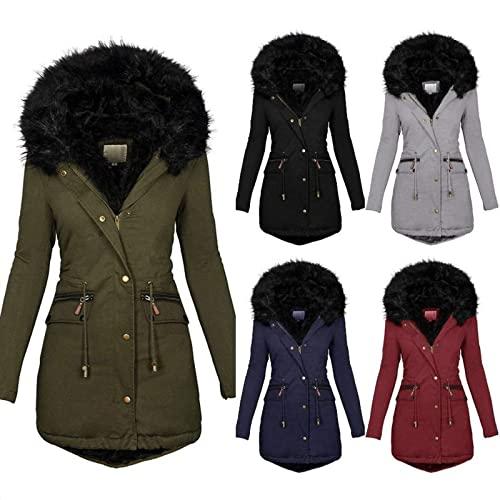 通用 Abrigo de nieve con forro polar para mujer 2021, impermeable, cálido, cálido, cálido, con capucha de piel sintética, azul marino, XL
