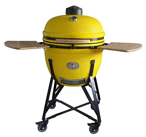 YNNI KAMADO TQ0C25YL - Parrilla con carrito y mesas de bambú, color amarillo con alimentador de virutas, barbacoa, cerámica, huevo, ahumador, TQ0C25YL