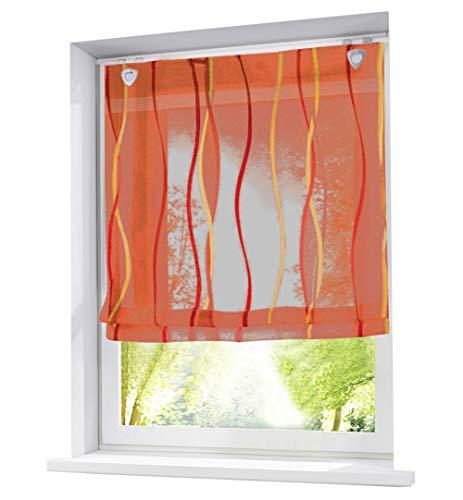 BAILEY JO Raffrollo mit farbigen Wellen Druck Rollos Schlaufen Voile Vorhang (BxH 60x140cm, Orange mit U-Haken)