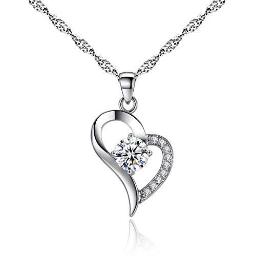 Kim Johanson dames halsketting *Jolie* in zilver van roestvrij staal hart bezet met zirkonia steentjes incl. sieradenzakje