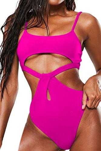 Almaree Cutout High Waist Brazilian Bathing Suit Underbust Swimsuit for Ladies Rosy L