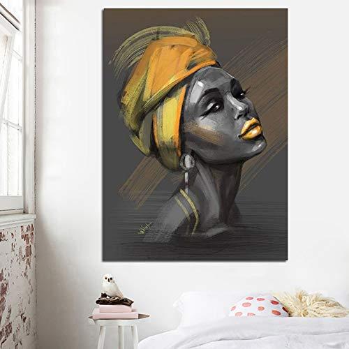 Sanzangtang nieuw canvas schilderij vrouw met turban poster en muurschildering portret afdrukken hoofddecoratie woonkamer frameloos