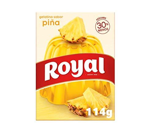 Royal Gelatina en Polvo Sabor Piña con Vitamina C, 30% Menos Azúcares - 10 Raciones, 114 g