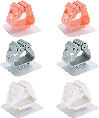 GELUNBIY Soporte de plástico para fregona, soporte para escoba, soporte para fregona, gancho para baño, soporte para fregona, adecuado para cocina, jardín, baño o pared
