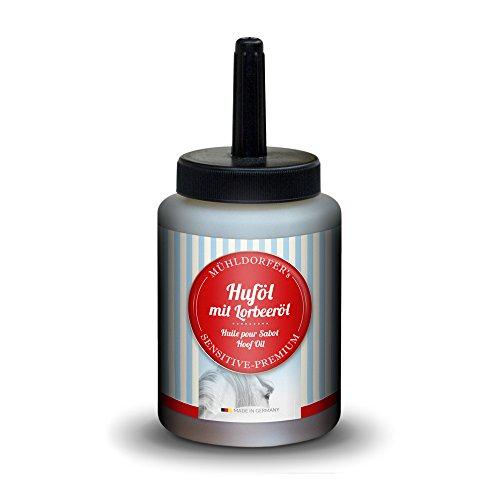 Mühldorfer Huföl, 500 ml, natürliche Hufpflege, schützt vor Hornspalt, mit Lorbeeröl, praktische Pinselflasche, Pflegemittel für Pferde und Ponys