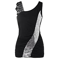 Black Lace Sleeveless Tank Tops Skew Collar Sequined Blouses