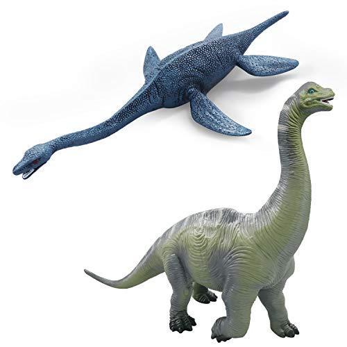 YIJIAOYUN Gran Figura de Dinosaurio de plástico Surtido Plesiosaurio y Brachiosaurus Juguete Realista Modelo Educativo Animal Estatuilla para niños