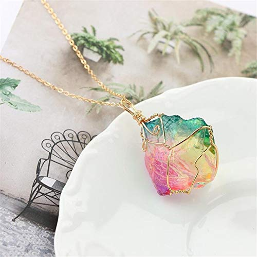 Beiswe Colorful Natural Stone Pendant Necklace Crystal Quartz Necklace Chain Pendant Jewelry Gift