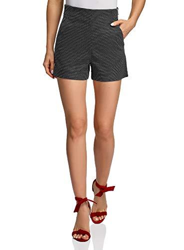 oodji Ultra Damen Jacquard-Shorts mit Hohem Bund, Schwarz, Herstellergröße DE 38 / EU 40 / M