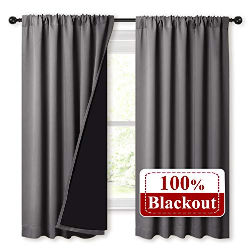 NICETOWN 100% Blackout Curtains 63 inches Long, Soft Thermal Insulated Rod Pocket 2-Layer Lined Drapes, Energy Efficiency Window Draperies for Bedroom (Grey, 2 Panels, 52-inch W)