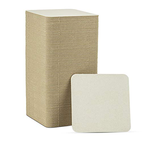 """MT Products 4"""" Square Blank Medium Weight Off-White Cardboard Coasters for Your Beverages (125 Pieces)"""