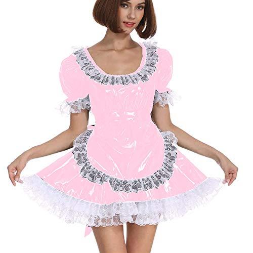 Cosplay Blanco Lace Distribuidor Cosplay Costume Dama Manga Corta Lolita Mini Vestido Precioso Vestido de Lujo de Cosplay con Delantal Traje mucama (Color : Light Pink, Size : 5XL)