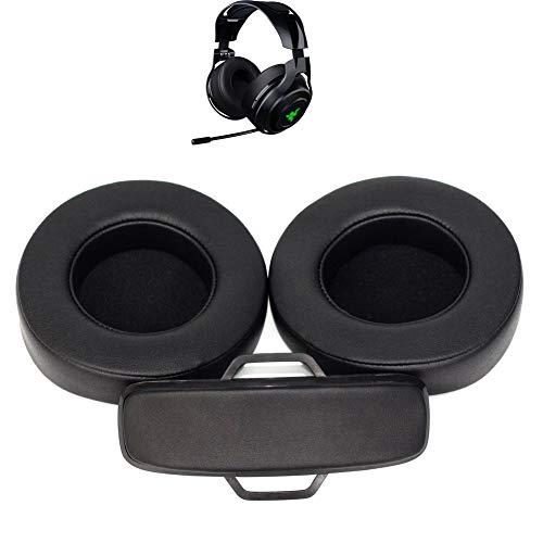 Almohadillas de Repuesto para Auriculares + Diadema/Coche/Tazas/Almohadillas de reparación de Piezas compatibles con Razer ManO'War Wired/Wireless 7.1 Sonido Envolvente Auriculares para Juegos