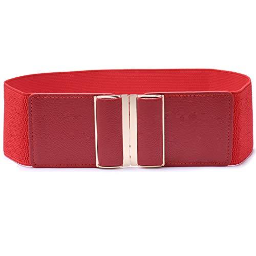 Beltox Womens 3' Wide Belt Elastic Stretch Cinch Waistband Lady Cummerband (26-43', Red Belt)