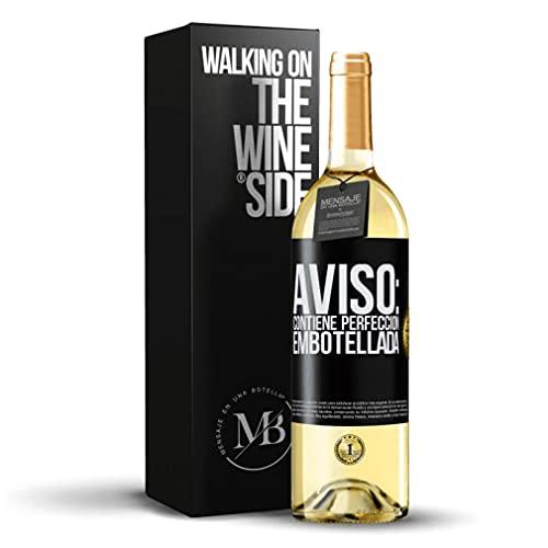 «Aviso: contiene perfección embotellada» Mensaje en una Botella. Vino Blanco Premium Verdejo Joven. Etiqueta Negra PERSONALIZABLE.