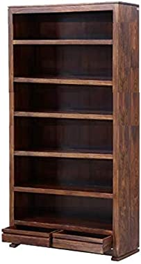 Shilpi Handmade Solid Wood Tall Book Shelf with 2 Drawers in Natural Brown Finishing