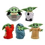 Baby Yoda Action Toys, Star Wars Figurine Cake Topper, Baby Yoda Series Action Figure, Action Model Office Ornament, Mini Figures Set, per Bambini Decorazione Festa di Compleanno, 5 Pezzi