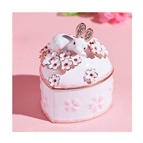 Caja de música Rosa Lindo de la joyería Caja de Conejo for el Anillo/Pendiente, en Forma de corazón Caja de música Creativa, decoración del hogar, la Caja de Almacenamiento del Recuerdo de la muchac