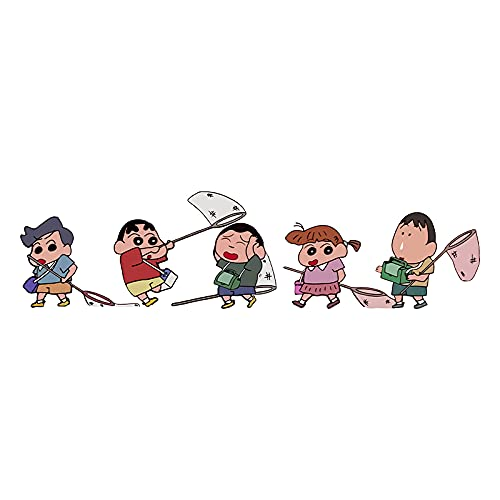 JZLMF Bonitos lápices de cera de dibujos animados Shin-Chan para portátil, pegatinas para maleta, maleta con ruedas, pegatinas decorativas impermeables