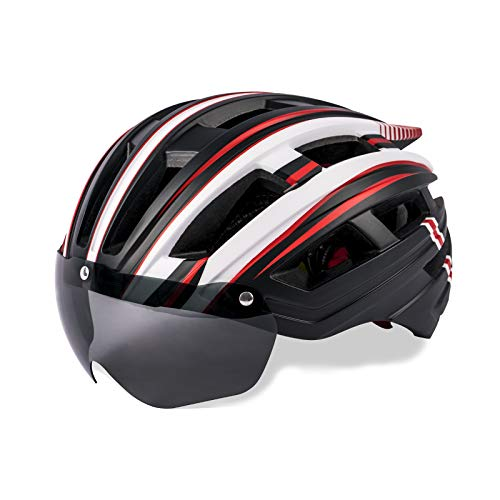 Sunrimoon Cycle Bike Helmet Adult - Cycling Helmet with Magnetic Goggles Visor Shield & USB Rechargeable Rear Light for Men Women Road & Mountain Bicycle helmets