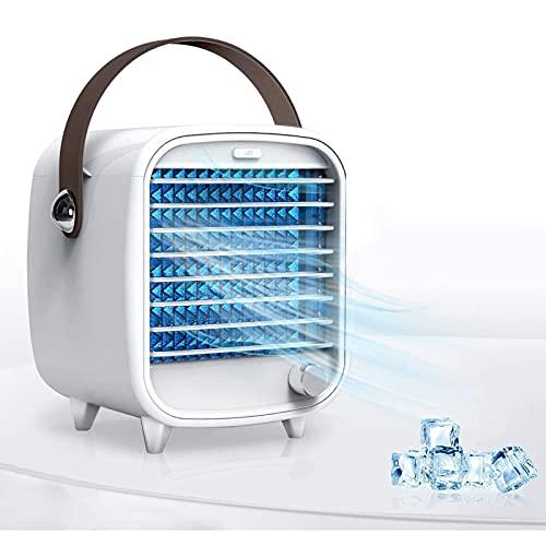 Liumintoy Mini Aire Acondicionado,Enfriador de Aire 3 in 1,Humidificador Ventilador Silencioso,Climatizador Portatil USB,3 Velocidades y 7 Colores LED,para Hogar y la Oficina