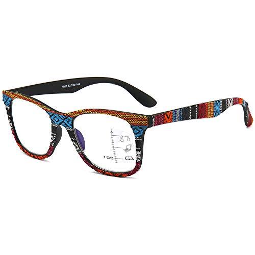 KOOSUFA Gleitsichtbrille Progressive Multifokus Lesebrille Herren Damen Anti-Blaulicht Sehhilfe Retro Lesehilfe Herren Anti Müdigkeit Brille Holzfarbe 1.0 1.5 2.0 2.5 3.0 3.5 (1x Bunt, 3.0)
