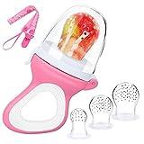 Ciuccio per Alimenti/Frutta per Bambini,DIAOCARE Giocattolo per bambini Massaggiagengive,Include 3pcs tutte le Misure Tettarelle in Silicone e Ciuccio Clip (rosa)