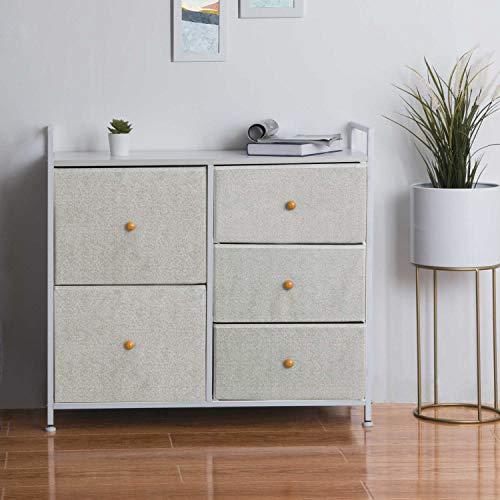 EPHEX Kommode Aufbewahrung, Schrank Organizer mit 5 Schubladen für Schlafzimmer, Wohnzimmer und Flur, Schubladenschrank aus Metall, MDF und Stoff, 83x29x77cm
