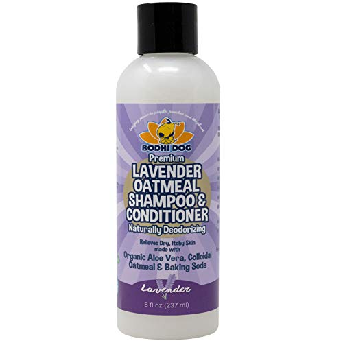 Organic Lavender Oatmeal Dog Shampoo and Conditioner | Hypoallergenic Conditioning Deodorizing Formula for Dogs Cats & Pets | Treatment Wash Soothes Dry Itchy Skin | Aloe for Allergy Relief 8oz