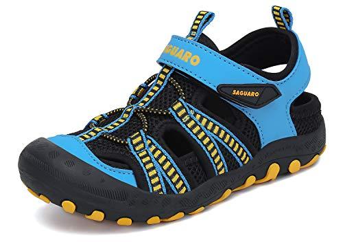 SAGUARO Sandalen Jungen Geschlossene Sommer Atmungsaktiv Kinder Strandschuhe Outdoor Trekkingschuhe rutschfest mit Klettverschluss Blau Gr.29