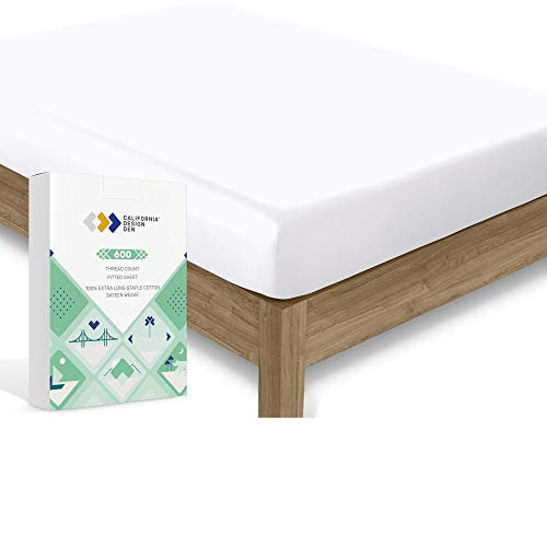 California Design Den Cotton Sheet 600 Thread Count - Pure White Queen 1 Piece Deep Pocket Soft Fitted Sheet Only, Long Staple Combed Cotton Silky Sheet