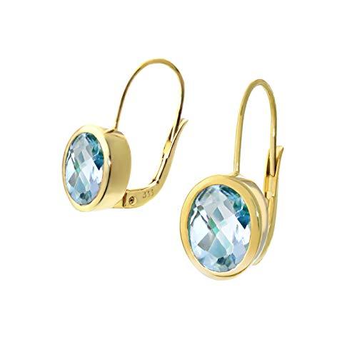 NKlaus Paar 333 8 Karat Gold gelbgold Blautopas Tropfen Ohrhänger Brisur Oval Ohrringen 9258