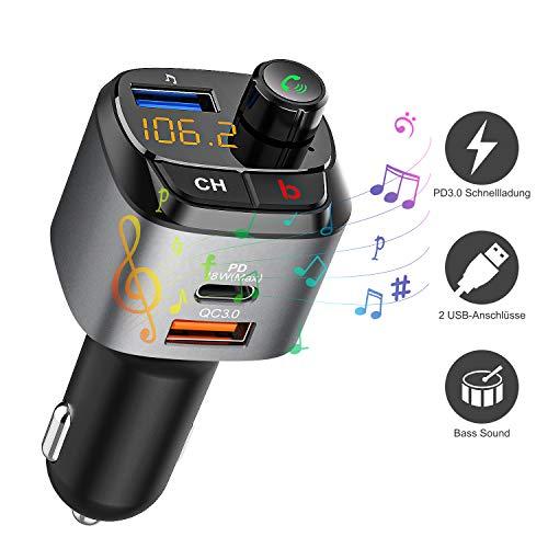 FM Transmitter, Bluetooth Auto Radio Transmitter QC3.0 und DP Dual USB Schnell Ladegerät, Wireless FM Radio Adapter mit Bass Sound effeck, Freisprecheinrichtung Kfz-Ladegerät mit 64GB USB Stick