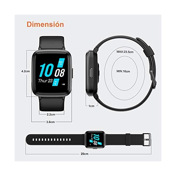 YAMAY Smartwatch con Oxímetro de Pulso Esfigmomanómetro y Pulsómetro Reloj Inteligente Impermeable para Hombre Mujer… 8