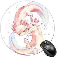 男性用ラウンドマウスパッドミニマウスマットゲーミングマウスパッドタイダイレインボースパイラルパターン-愛らしいAxolotl