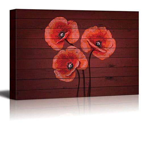 haiyilan WandkunstBilder drucken auf Leinwand Roter Blumenstrauß von Mohnblumen auf Kirschholzplatte Malerei Dekor Kunst Leinwanddruck Druckt Poster Küchenbilder Wanddekoration für Esszimmer Raum Zus