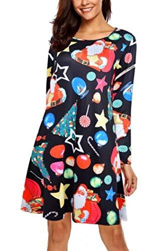 LaSuiveur Women's Light Santa Claus Print Ugly Christmas Holiday Dress L