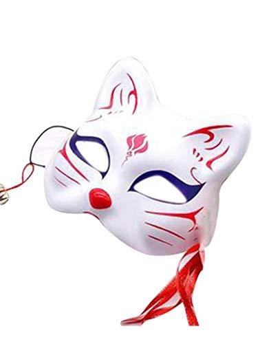earlyad Máscara de Halloween Media Cara Japonesa Pintada a Mano Máscara de Gato Zorro Máscara de filmación Mascarada Accesorios Especiales