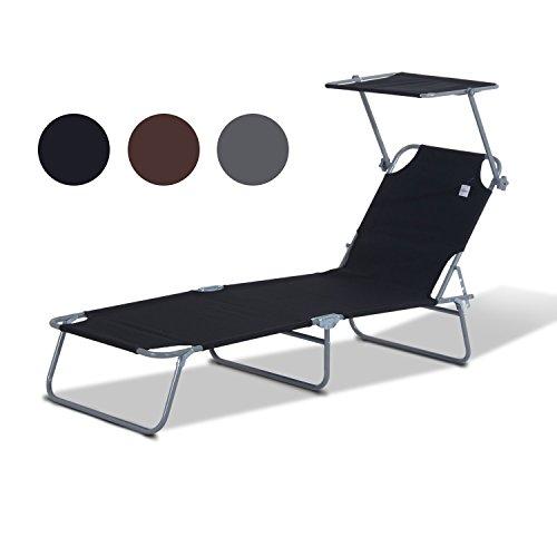 Outsunny Sonnenliege Gartenliege Wellnessliege Strandliege klappbar mit Sonnenschutz, schwarz, 187x58x27 cm, 84B-001BK
