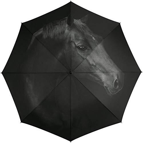 Automatik Regenschirm Taschenschirm Essentials Horse mit wunderschönem Pferdemotiv