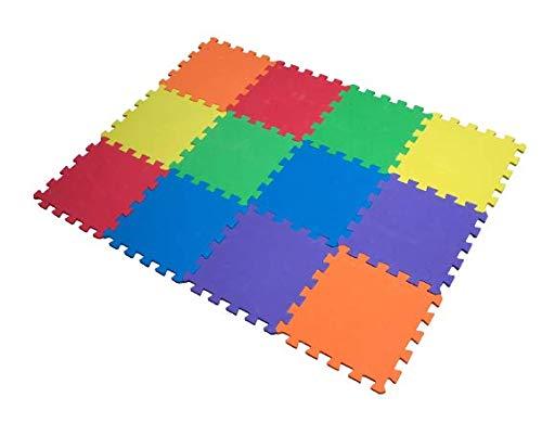 Alfombra de Juegos Edukit de Espuma EVA; 12 Piezas y 14 Bordes; 30 x 30cm; Baldosas Puzzle Multicolores – Una zona de juegos para bebés y niños brillante y segura